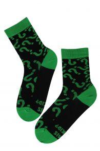 Хлопковые носки черного цвета с вопросительным текстом MIS SOKID (какие носки) | Sokisahtel