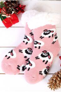 Теплые домашние носки нежно-розового цвета с нескользящей подошвой и узором в виде овечек NIILO   Sokisahtel