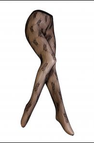 Женские тонкие фантазийные колготки черного цвета RAEVILLE | Sokisahtel