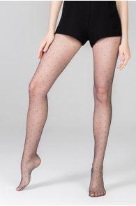 Женские тонкие фантазийные колготки черного цвета с узором в мелкий горошек OH MY DOT 13DEN | Sokisahtel
