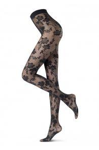 Женские элегантные колготки с кружевным цветочным узором синего цвета JASMINE 30DEN от Oroblu | Sokisahtel