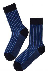 Мужские стильные хлопковые носки темно-синего цвета с полосками PAUL | Sokisahtel