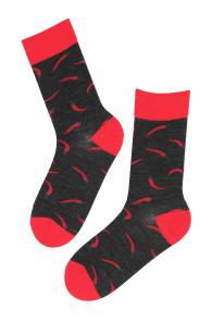 PEPPER merino wool socks with chillies | Sokisahtel