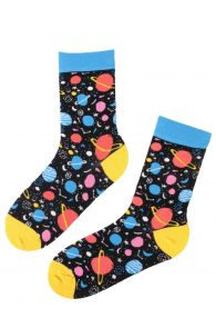 Женские хлопковые носки черного цвета с тканым узором в виде ярких планет PLANET | Sokisahtel