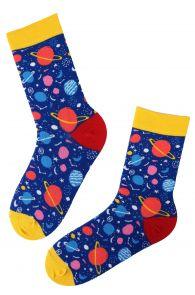 Женские хлопковые носки синего цвета с тканым узором в виде ярких планет PLANET | Sokisahtel