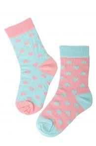 Детские хлопковые носки нежных оттенков с изображением сердечек POWDER | Sokisahtel