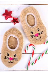 PUFFY beige home slippers for women | Sokisahtel