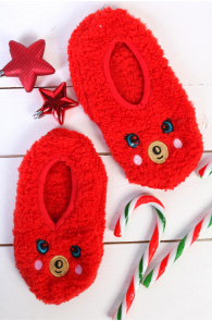 PUFFY red home slippers for kids | Sokisahtel