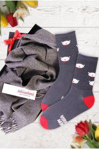 Подарочный комплект из носков PUHH и серого шарфа из шерсти альпака для лучшего дедушки | Sokisahtel