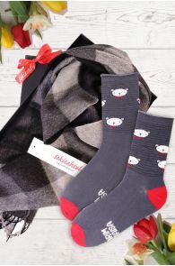Подарочный комплект из носков PUHH и черно-серого клетчатого шарфа из шерсти альпака для лучшего дедушки | Sokisahtel