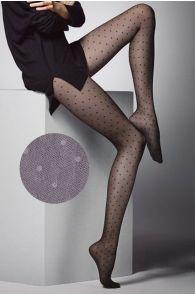 Женские фантазийные колготки серого цвета с узором в горошек PUNTINI 20DEN | Sokisahtel