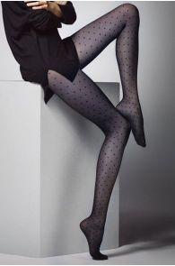 Женские фантазийные колготки темно-синего цвета с узором в горошек PUNTINI 20DEN | Sokisahtel