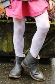 Детские колготки белого цвета с узором в крупный горошек SABINA | Sokisahtel
