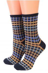Женские блестящие носки с квадратным узором в оттенках синего SETH от Pierre Mantoux | Sokisahtel