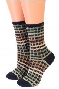 Женские блестящие носки с квадратным узором в оттенках зеленого SETH от Pierre Mantoux | Sokisahtel