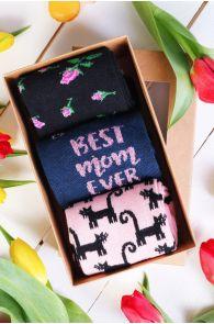 Подарочный набор из 3 пар нежных женских носков ко Дню Матери BEST MOM (Лучшая мама) | Sokisahtel
