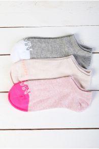 CALVIN KLEIN lühikesed roosad naiste sokid 3tk | Sokisahtel