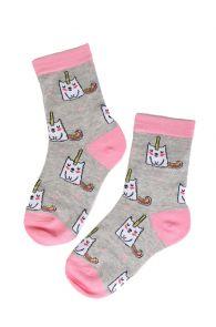 Детские хлопковые носки светло-серого цвета с изображением единорогов ELOISE   Sokisahtel