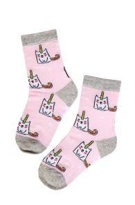 ELOISE light pink socks with unicorns for girls | Sokisahtel