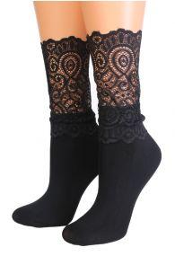 Женские изящные носки черного цвета с кружевной отделкой MADLE | Sokisahtel
