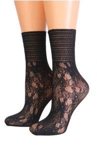 Женские изящные кружевные носки черного цвета с цветочным узором NETA | Sokisahtel