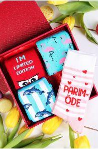 Подарочный набор с 4 парами женских хлопковых носков PARIM ÕDE (лучшая сестра) | Sokisahtel
