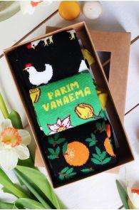 Подарочный набор из 3 пар женских веселых хлопковых носков ко Дню Матери PARIM VANAEMA (Лучшая бабушка) | Sokisahtel