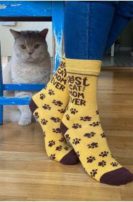 Женские хлопковые носки с кошачьими лапками ко Дню Матери BEST CAT MOM (Лучшая мама-кошка) | Sokisahtel