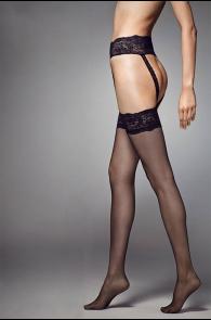 Женские тонкие колготки черного цвета с кружевом красного цвета STRIPPANTE SENSUAL 15DEN | Sokisahtel