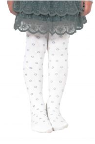 TANYTA white bubble-patterned tights for children | Sokisahtel