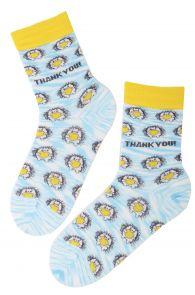 Хлопковые носки голубого цвета с изображением милых ёжиков с сердечками для мужчин и женщин THANK YOU (спасибо)   Sokisahtel