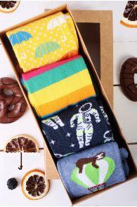 Подарочный набор из 4 пар ярких и веселых хлопковых носков для женщин ASTRONAUT | Sokisahtel