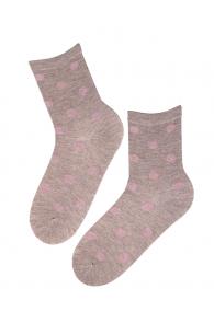 VAIKE beige cotton socks with shiny dots   Sokisahtel