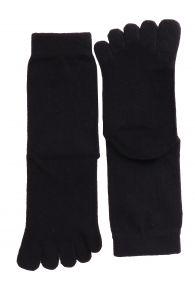 Хлопковые носки черного цвета с пальцами для мужчин и женщин YOGI | Sokisahtel