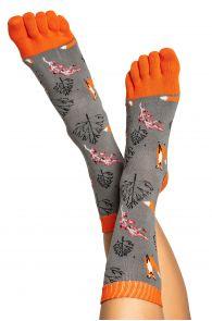 Хлопковые носки с пальцами для мужчин и женщин с узором в виде лисичек FOX | Sokisahtel