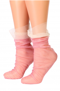Женские тонкие двухслойные сетчатые носки розового цвета VEIL от Oroblu | Sokisahtel