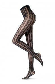 Женские оригинальные колготки черного цвета с узором в кружевную полоску FLOUNCE 20DEN от Oroblu   Sokisahtel