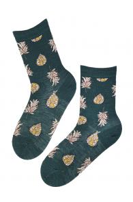 Женские носки сине-зеленого цвета из шерсти ангоры с узором в виде шишек и листиков WOOD | Sokisahtel