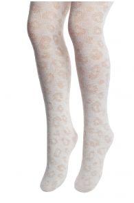 ZORIA white animal print tights for children | Sokisahtel